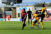 Alex Kenyon of Morecambe misses a great chance during the EFL Sky Bet League 2 match between Morecambe and Newport County at the Globe Arena, Morecambe, England on 16 September 2017. Photo by Mick Haynes.
