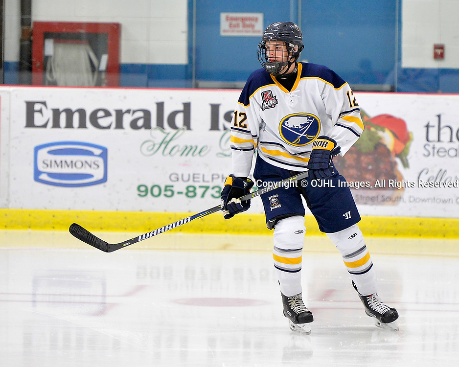 GEORGETOWN, ON  - NOV 4,  2017: Ontario Junior Hockey League game between the Georgetown Raiders and Buffalo Jr. Sabres. Ryan Sidorski #12 of the Buffalo Jr. Sabres follows the play during the first period.<br /> (Photo by Shawn Muir / OJHL Images)