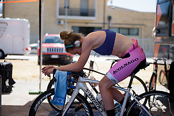 Anna van der Breggen warms up for Stage 5 of the Giro Rosa - a 12.7 km individual time trial, starting and finishing in Sant'Elpido A Mare on July 4, 2017, in Fermo, Italy. (Photo by Sean Robinson/Velofocus.com)