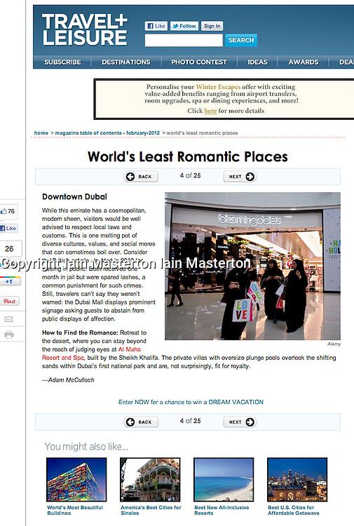 Travel and Leisure magazine; Shopping mall in Dubai