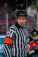 KELOWNA, BC - OCTOBER 2:  Referee Jeff Ingram stands at center ice at the Kelowna Rockets against the Tri-City Americans  at Prospera Place on October 2, 2019 in Kelowna, Canada. (Photo by Marissa Baecker/Shoot the Breeze)