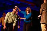 The Theater of Public Policy Improv Troupe acts out during Minneapolis Mayor Betsy Hodges' inauguration party at the historic Thorp Building in Northeast Minneapolis, Saturday, January 11, 2014.
