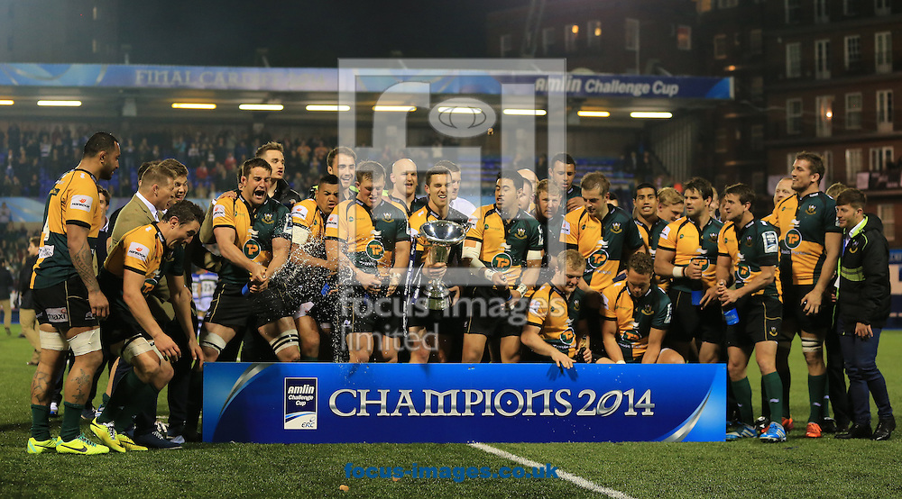Northampton Saints celebrate winning the Amlin Cup at Cardiff Arms Park, Cardiff<br /> Picture by Michael Whitefoot/Focus Images Ltd 07969 898192<br /> 23/05/2014