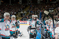 KELOWNA, CANADA - DECEMBER 27: Liam Kindree #26 of the Kelowna Rockets stands at the bench against the Kamloops Blazers on December 27, 2016 at Prospera Place in Kelowna, British Columbia, Canada.  (Photo by Marissa Baecker/Shoot the Breeze)  *** Local Caption ***