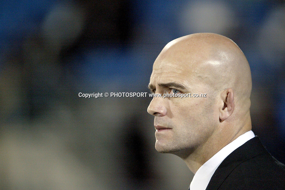 9th August, 2003. Carisbrook, Dunedin, New Zealand. <br />Tri - Nations Rugby Union. All Blacks v South Africa.<br />John Mitchell.<br />The All Blacks won the match, 19 - 11.<br />Pic: Andrew Cornaga/Photosport