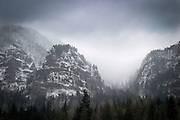 Rock monoliths above Dobson, Oregon during a Winter Storm. Columbia River Gorge National Scenic Area.