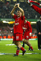 CARDIFF, WALES - Sunday, March 2, 2003: Liverpool's Michael Owen celebrates beating Manchester United 2-0 during the Football League Cup Final at the Millennium Stadium. (Pic by David Rawcliffe/Propaganda)