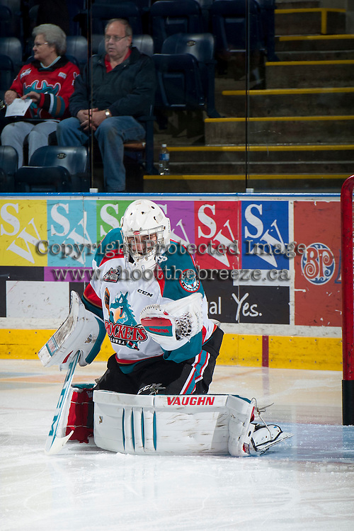 KELOWNA, CANADA - MARCH 7: Jackson Whistle #1 of Kelowna Rockets warms up against the Spokane Chiefs on March 7, 2015 at Prospera Place in Kelowna, British Columbia, Canada.  (Photo by Marissa Baecker/Shoot the Breeze)  *** Local Caption *** Jackson Whistle;