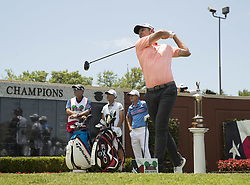 May 26, 2018 - Fort Worth, TX, USA - FORT WORTH, TX - MAY 26, 2018 - Justin Rose tees off on the first hole to start the third round of the 2018 Fort Worth Invitational PGA at Colonial Country Club in Fort Worth, Texas (Credit Image: © Erich Schlegel via ZUMA Wire)