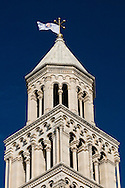 Cathedral bell tower (flying the flag of Hajduk football club, which celebrated its 100th anniversary in February 2011), Diocletian's Palace, Split, Croatia