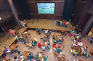 Students watch the Packer game in the Sett at Union South during Sunburst Festival in 2014.