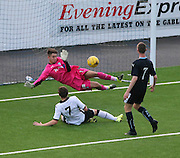 Dundee keeper Kyle Gourlay saves at point blank range from Jamie Docherty - Dundee v St Johnstone - SPFL development league <br /> <br />  - &copy; David Young - www.davidyoungphoto.co.uk - email: davidyoungphoto@gmail.com