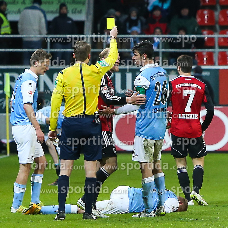 02.03.2015, Audi Sportpark, Ingolstadt, GER, 2. FBL, FC Ingolstadt 04 vs TSV 1860 M&uuml;nchen, 23. Runde, im Bild Gelbe Karte fuer Tobias Levels (Nr.28, FC Ingolstadt 04) // during the 2nd German Bundesliga 23rd round match between FC Ingolstadt 04 and TSV 1860 M&uuml;nchen at the Audi Sportpark in Ingolstadt, Germany on 2015/03/02. EXPA Pictures &copy; 2015, PhotoCredit: EXPA/ Eibner-Pressefoto/ Strisch<br /> <br /> *****ATTENTION - OUT of GER*****