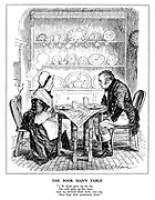 "The Poor Man's Table. ""J. B. Sprat gave up his fat, his wife gave up her lean; and so, betwixt then both, you see, they kept their conscience clean."""