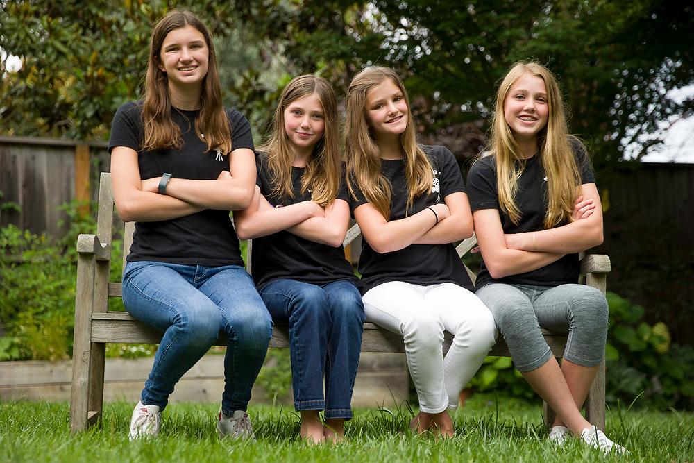 From left: The founders of the Noe Valley Girls Film Festival Ella Marks, 14, Caitlin Kane, 11, Maggie Marks, 11 and Charlotte Kane, 14 on Thursday, Aug. 24, 2017, in San Francisco, Calif.