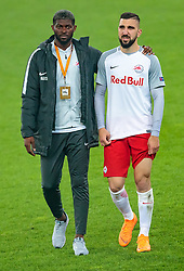 03.05.2018, Red Bull Arena, Salzburg, AUT, UEFA EL, FC Salzburg vs Olympique Marseille, Halbfinale, Rueckspiel, im Bild Jerome Onguene (FC Salzburg), Munas Dabbur (FC Salzburg) // during the UEFA Europa League Semifinal, 2nd Leg Match between FC Salzburg and Olympique Marseille at the Red Bull Arena in Salzburg, Austria on 2018/05/03. EXPA Pictures © 2018, PhotoCredit: EXPA/ JFK