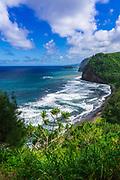 Pololu Valley and beach, North Kohala, The Big Island, Hawaii USA