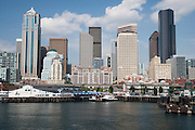 Seattle waterfront and skyline from a Washington State Ferry on Puget Sound, WA, USA