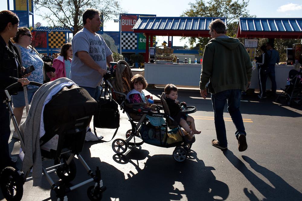 Families walk through Lego City in Legoland in Whitehaven, Florida on February 11, 2012.