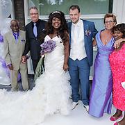 NLD/Amsterdam/20120721 - Huwelijk Berget Lewis en Sebastiaan van Rooijen, bruidspaar met wederzijdse ouders