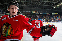 KELOWNA, BC - MARCH 02:  Reece Newkirk #12 sits on the boards after fist bumping Jake Gricius #14 of the Portland Winterhawks to celebrate a goal against the Kelowna Rockets at Prospera Place on March 2, 2019 in Kelowna, Canada. (Photo by Marissa Baecker/Getty Images)