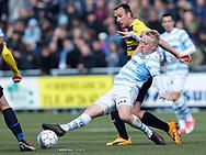 FODBOLD: Mads Aaquist (FC Helsingør) og Kasper Povlsen (Hobro IK) under kampen i NordicBet Ligaen mellem FC Helsingør og Hobro IK den 23. april 2017 på Helsingør Stadion. Foto: Claus Birch