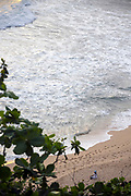 VARKALA, INDIA - 27th September 2019 - Woman meditating on Varkala Cliff Beach, Kerala, Southern India