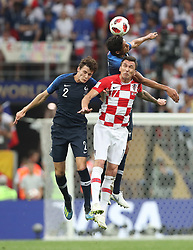 MOSCOW, July 15, 2018  Mario Mandzukic (R bottom) of Croatia competes for a header with Benjamin Pavard (L bottom) and Raphael Varane of France during the 2018 FIFA World Cup final match between France and Croatia in Moscow, Russia, July 15, 2018. (Credit Image: © Cao Can/Xinhua via ZUMA Wire)
