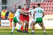 11th November 2018 , Racecourse Ground,  Wrexham, Wales ;  Rugby League World Cup Qualifier,Wales v Ireland ; Dan Fleming of Wales is tackled by Declan O'Donnell of Ireland <br /> <br /> <br /> Credit:   Craig Thomas/Replay Images