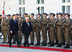 September 6, 2016 - Warsaw, Poland - Polish President, Andrzej Duda, officially welcomes Palestinian National Authority President, Mahmoud Abbas, at the Presidential Palace in Warsaw, Poland on September 6 2016, during the Palestinian President's three day diplomatic visit.  He and his counterpart, President Duda, met in the Presidential palace for plenary talks during the official welcoming ceremony. (Credit Image: © Anna Ferensowicz/Pacific Press via ZUMA Wire)