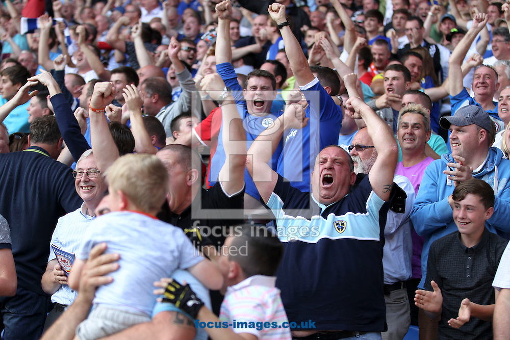 Picture by Mike  Griffiths/Focus Images Ltd +44 7766 223933<br /> 25/08/2013<br /> Cardiff City fans celebrate the teams first Premier League Goal against Manchester City during the Barclays Premier League match at the Cardiff City Stadium, Cardiff.