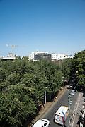 Elevated view of Rothschild Boulevard, Tel Aviv, Israel