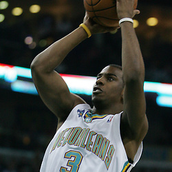 New Orleans Hornets guard Chris Paul #3 shoots against the Utah Jazz in the first quarter of their NBA game on April 8, 2008 at the New Orleans Arena in New Orleans, Louisiana.