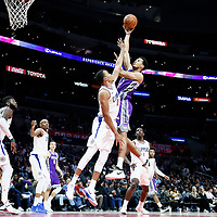 12 October 2017: Sacramento Kings forward Skal Labissiere (7) goes for the baby hook over LA Clippers forward Brice Johnson (11) during the LA Clippers 104-87 victory over the Sacramento Kings, at the Staples Center, Los Angeles, California, USA.