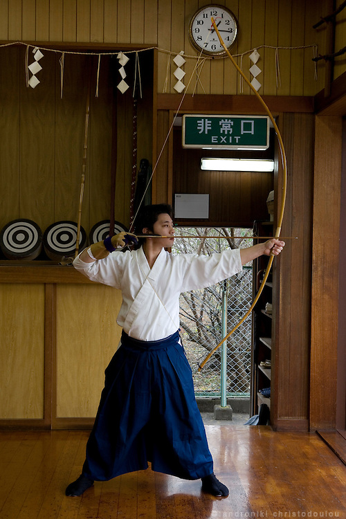 Kiyomoto Ogasawara, during trainning in Yabusame(equastian archery) and Kyudo (archery)