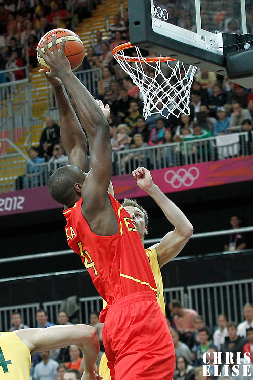 31 July 2012: Spain Serge Ibaka goes for the dunk during the 82-70 Spain victory over Australia, during the men's basketball preliminary, at the Basketball Arena, in London, Great Britain.