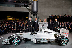 STUTTGART, GERMANY - Monday, January 25, 2010: Ross Brawn (Team manager Mercedes GP), Dr Dieter Zetsche (Chairman of the Board of Management of Daimler AG, Head of Mercedes-Benz Cars), Nico Rosberg, Michael Schumacher, Norbert Haug (Head of Motorsport Mercedes) and Mercedes Grand Prix chief executive Nick Fry. during the Mercedes GP Petronas Formula One Team presentation at the Mercedes-Benz Museum. (Pic by Juergen Tap/Hoch Zwei/Propaganda)