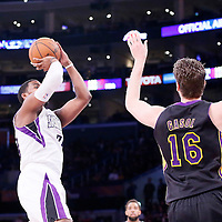 28 February 2014: Sacramento Kings power forward Jason Thompson (34) takes a jump shot during the Los Angeles Lakers 126-122 victory over the Sacramento Kings at the Staples Center, Los Angeles, California, USA.