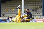 PENALTY SAVE - Brendan Moore saves Southend Penalty  during the EFL Sky Bet League 1 match between Southend United and Rochdale at Roots Hall, Southend, England on 2 September 2017. Photo by Daniel Youngs.
