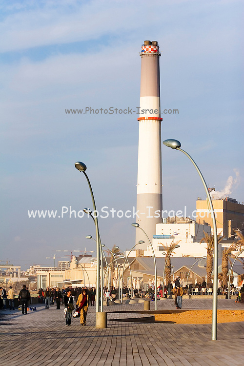 The Tel Aviv promenade, in the old Tel Aviv port with the Tel Aviv power plant in the background