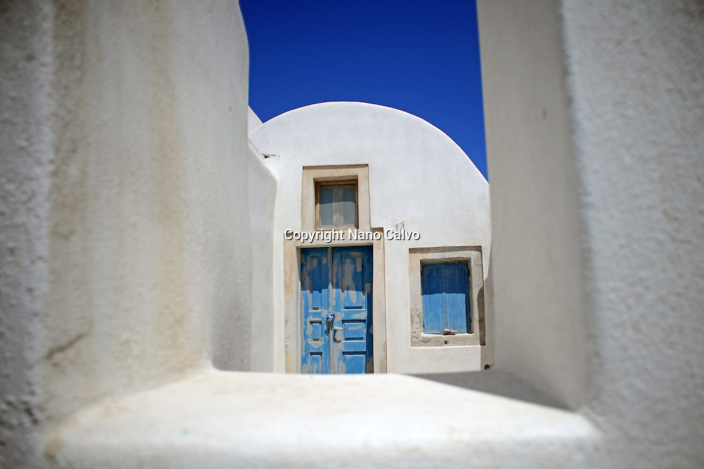 White house in Oia, Santorini, Greek Islands, Greece,