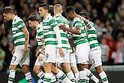 Celtic players celebrate Moussa Dembele (10) goal making it 3-0 during the Betfred Scottish Cup  Final match between Aberdeen and Celtic at Hampden Park, Glasgow, United Kingdom on 27 November 2016. Photo by Craig Galloway.
