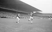Player kicking ball during the All Ireland Senior Football Championship Final Galway v Meath in Croke Park on the 25th September 1966. Galway 1-10 Meath 0-7.