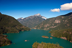 Aerial view of Lake Diablo with mountain, North Cascades National Park, Washington, United States of America