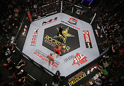 Feb 12, 2011; East Rutherford, NJ; USA; Fedor Emelianenko (black trunks) and Antonio Silva (red trunks) fight during their opening round bout of the Strikeforce Heavyweight Grand Prix at the IZOD Center in East Rutherford, NJ.