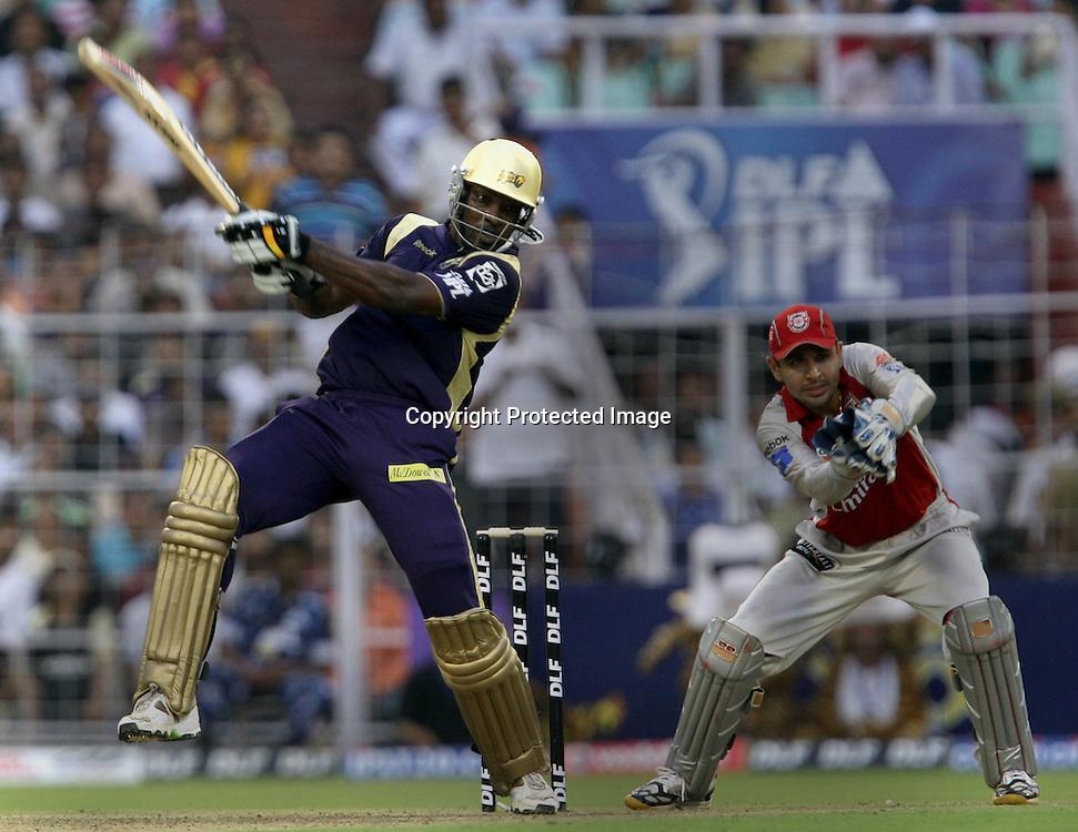 Kolkata Knight Riders Batsman Chris Gayle Hit The Shot Against  Kings XI Punjab During The Kolkata Knight Riders vs Kings XI Punjab 34th match Twenty20 match | 2009/10 season Played at Eden Gardens, Kolkata <br />4 April 2010 - day/night (20-over match)