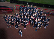 Dundee players Glen Kamara, Faissal El Bakhtaoui, Josh Meekings, Craig Wighton and Cammy Kerr pictured with the kids who were first to own the Dundee kit for season 2018-19 - Dundee FC kit launch at Dundee, Dens Park,<br /> <br />  - &copy; David Young - www.davidyoungphoto.co.uk - email: davidyoungphoto@gmail.com