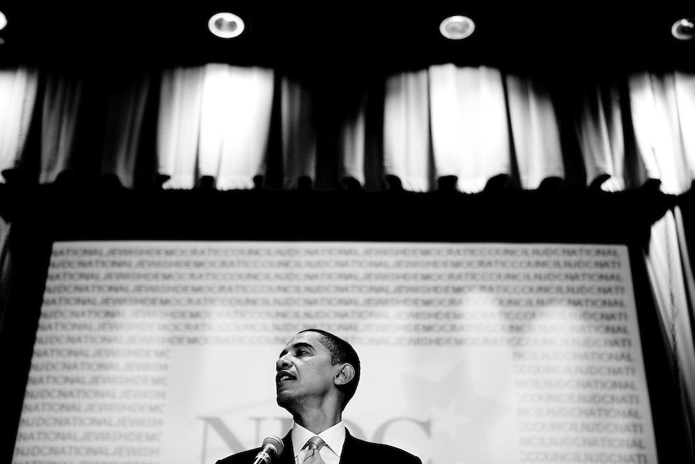 Democratic presidential hopeful Sen. Barack Obama (D-IL) addresses the National Jewish Democratic Council's Washington Conference in Washington, DC, on Tuesday, Apr. 24, 2007.
