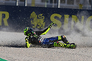 #46 Valentino Rossi, Italian: Movistar Yamaha MotoGP slides off at turn 4 in FP1 during the Gran Premio Motul de la Comunitat Valenciana at Circuito Ricardo Tormo Cheste, Valencia, Spain on 15 November 2019.