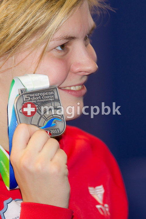 Lotte FRIIS of Denmark poses with her Silver medal after finishing second in the women's 400m Freestyle Final during the 15th European Short Course Swimming Championships in Szczecin, Poland, Saturday, Dec. 10, 2011. (Photo by Patrick B. Kraemer / MAGICPBK)